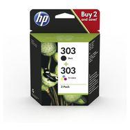 HP Pack de 2 Cartouches d'Encre HP 303  Noire et Trois Couleurs, Authentiques (3YM92AE)