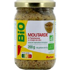 AUCHAN BIO Moutarde à l'ancienne au vinaigre de cidre en bocal 200g