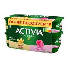 ACTIVIA Yaourt au bifidus panaché vanille framboise 16x125g