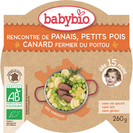 Babybio panais petits pois canard orange 260g dès 15 mois