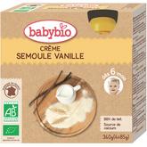 Babybio gourde bio crème vanille semoule 4x85g dès 6 mois