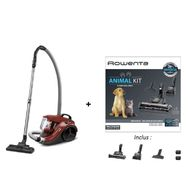 ROWENTA Lot Aspirateur sans sac + Kit 3 brosses animal YY4187FE