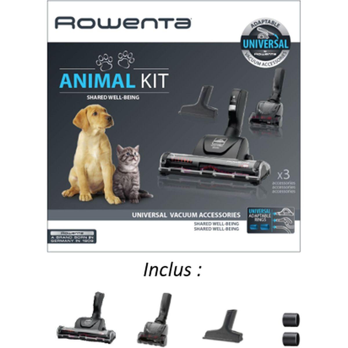 ROWENTA Lot Aspirateur sans sac + Kit 3 brosses animal YY4187FE
