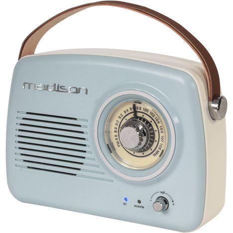 MADISON Radio portable analogique Vintage FREESOUND VR30 - Bleu/rose
