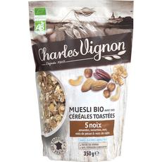 CHARLES VIGNON Muesli bio céréales toastées 5 noix  350g