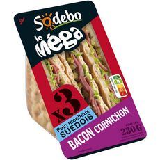 Sodebo sandwich mega pain suédois bacon 230g