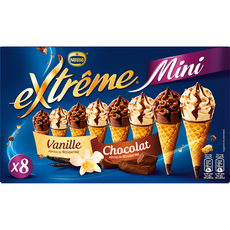Extrême Mini cône glacé vanille-nougatine et chocolat-nougatine 313g