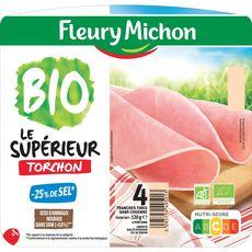 Fleury Michon Le Supérieur Jambon bio au torchon -25% de sel 4 tranches120g
