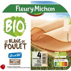 Fleury Michon bio Blanc poulet -25% de sel 4 tranches 120g