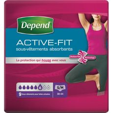 Depend Active Fit sous-vêtements fuites urinaires taille S/M x9