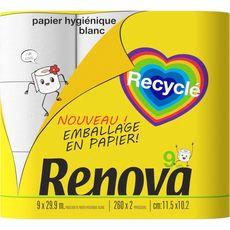 RENOVA Papier toilette blanc recyclé avec emballage en papier 9 rouleaux