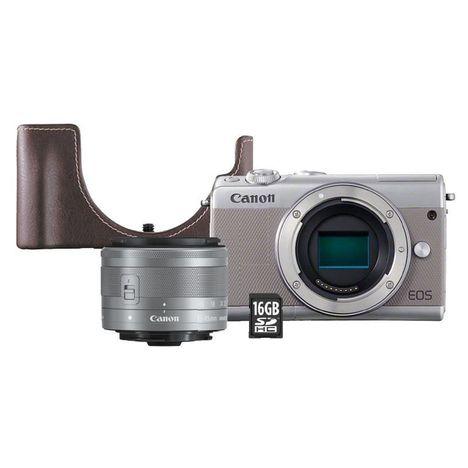 CANON Appareil photo hybride - Gris - EOS M100 + Objectif 15-45 mm + Étui + Carte SD 16 Go