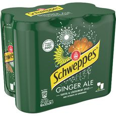SCHWEPPES Boisson gazeuse ginger ale au gingembre boîtes slim 6x33cl