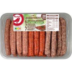 AUCHAN Chipolatas, merguez et saucisses herbes 20 pièces 1.1kg