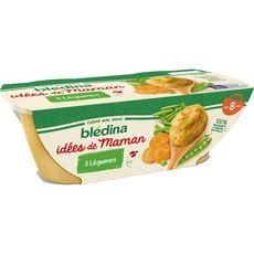 BLEDINA Blédina Idées de maman bol purée aux 3 légumes dès 8 mois 2x200g 2x200g