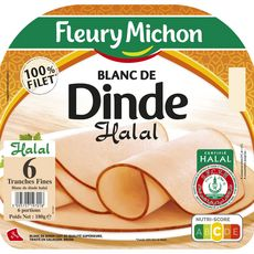 FLEURY MICHON Blanc de dinde halal 6 tranches 180g