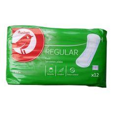 Auchan hygiène adulte flux légers serviette normale x12