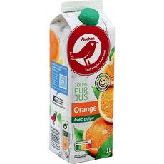 AUCHAN Pur jus d'oranges avec pulpe 1L