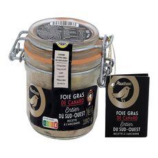 AUCHAN GOURMET Foie gras de canard entier du Sud-Ouest à l'ancienne 4-5 portions 180g