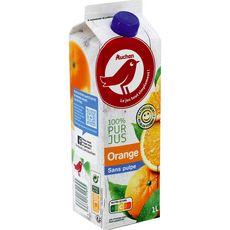 AUCHAN Pur jus d'oranges sans pulpe 1L