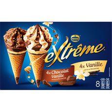 Extrême Cône glacé vanille et chocolat-vanille 544g