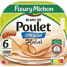 FLEURY MICHON Fleury Michon Blanc de poulet halal 6 tranches fines 180g 6 tranches 180g