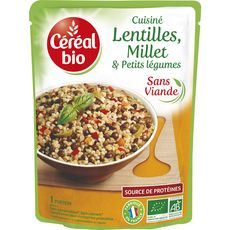 CEREAL BIO Lentilles millet aux petits légumes sans viande en poche fabriqué en France 1 personne 250g