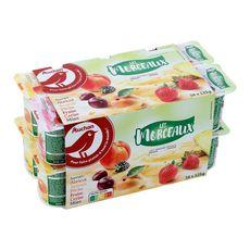 AUCHAN Panaché de yaourts aux fruits avec morceaux 16x125g