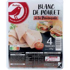 AUCHAN Blanc de poulet à la provençale 4 tranches 120g