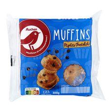 Auchan muffins aux pépites de chocolat x4 -300g