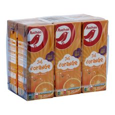 AUCHAN Jus d'orange à base de concentré briquettes 6x20cl