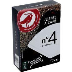 AUCHAN Filtres à café n°4 + 1 sachet de détartrant