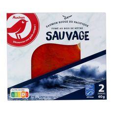 AUCHAN Saumon rouge fumé sauvage du Pacifique 2 tranches 60g