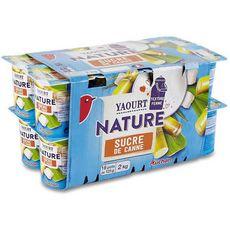 AUCHAN Yaourt nature au sucre de canne 16x125g