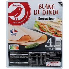 AUCHAN Blanc de dinde cuit au four 4 tranches 120g