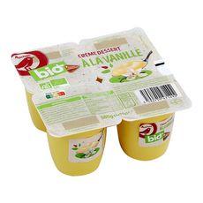 AUCHAN BIO Crème dessert à la vanille filière responsable 4x95g