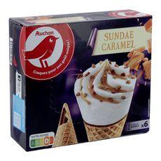 AUCHAN Cône glacé sundae 6 pièces 415g