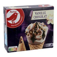 AUCHAN Cône glacé vanille chocolat 6 pièces 415g