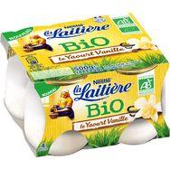 La Laitière Yaourt bio au lait entier vanille 4x125g