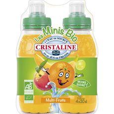 CRISTALINE Eau de source gazeuse aromatisée multifruits bouteilles 4x20cl