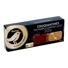 Gourmet AUCHAN GOURMET Biscuits croquantines pur beurre aux amandes et chocolat au lait