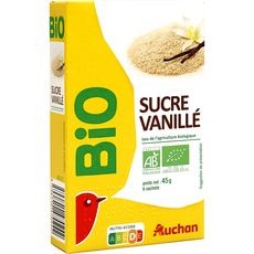 AUCHAN BIO Sucre vanillé 6 sachets 6x7,5g