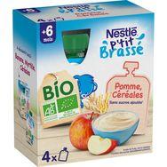 Nestlé Nestlé P'tit brassé gourde dessert pomme céréales bio dès 6 mois 4x90g