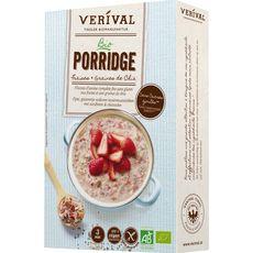 VERIVAL Porridge bio fraises et graines de chia sans gluten 350g