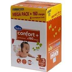 Auchan baby Confort + couches méga pack taille 3 (4-9kg) x40