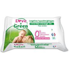 LOVE ET GREEN Lingettes à la fleur d'oranger bio pour bébé 64 lingettes