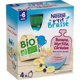 Céréal Bio Nestlé P'tit brassé gourde dessert myrtille céréales bio dès 6 mois 4x90g