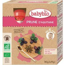 Babybio Gourde dessert prune  dès 6 mois 4x90g