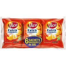 VICO Chips ondulées extra craquantes nature - sachets individuels lot de 6 6x30g