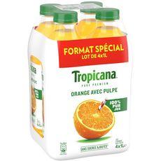 Tropicana Jus pure premium 100% orange avec pulpe 4x1l